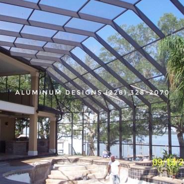 two story pool enclosure Built by Aluminum Designs of Saucier, MS.
