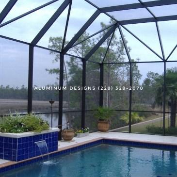 uses Phifer insect screen bronze swimming pool enclosure