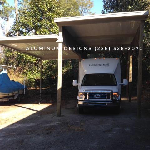 RV cover built by Aluminum Designs of Saucier, MS.