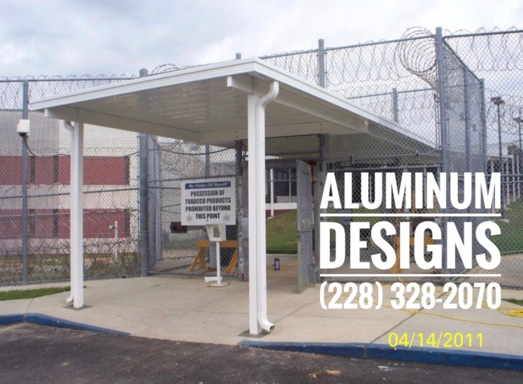 white aluminum walkway cover pan roof system