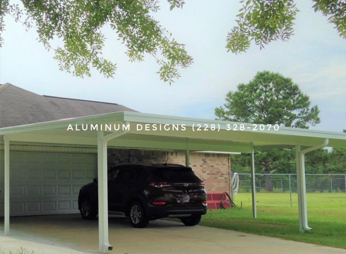 Aluminum double carport Built by Aluminum Designs of Saucier, MS.