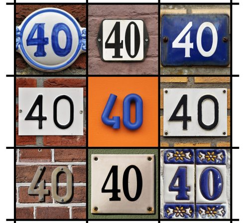 Collage of House Numbers Forty