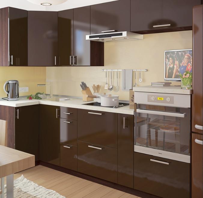 مطبخ بالوان بني سادة
