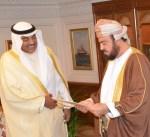 مبعوث سمو الأمير يسلم رسالة خطية من سموه إلى السلطان قابوس بن سعيد