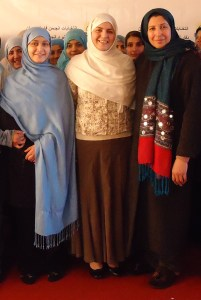 Sadiqa Basiri Saleem FP'09 (center), founder and director of the Oruj Learning Center, with Program Manager Afzoon Aziz (right) and a student at Afghanistan's first community college for women.
