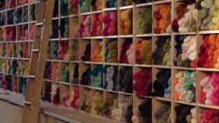 Just the Yarn shelves of yarn