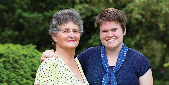 Elaine Elliot '62 and Stephanie Rohr '12 have become family to each other