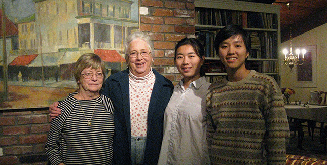 Top (from left): Kathy Boyce Morse '66, Anne Ensworth Whitney '58, Ziyan Zhou '17, and Ngoc Vu '17 enjoyed Thanksgiving dinner together; Bottom: Vu and Zhou help choose a Christmas tree.