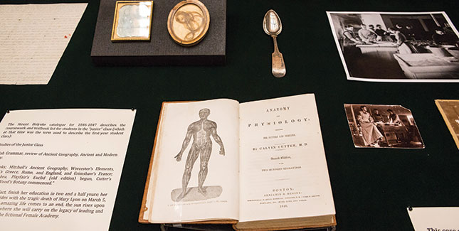 Materials in an exhibit case.