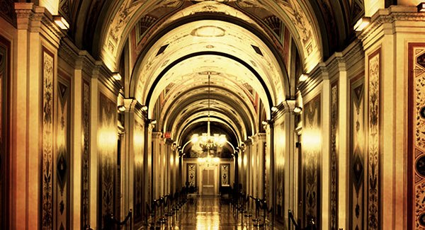 The ornately decorated Brumidi Corridors on the first floor of the Senate wing in the United States Capitol