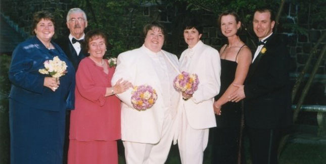 Sabrina Maurer '90 (left) and Kimberly Underwood '91 at their commitment ceremony with wedding party, including Sabrina's sister KC Maurer '84 (left). Photo courtesy of KC Maurer