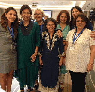 Acting President Sonya Stephens (third from left) enjoys the company of participants of the Mount Holyoke College Shakti Program in Mumbai, India, in August.
