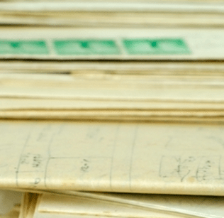 Stack of archival letters