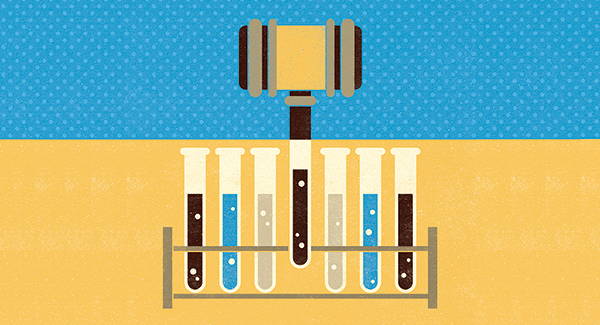 Illustration of gavel and test tubes
