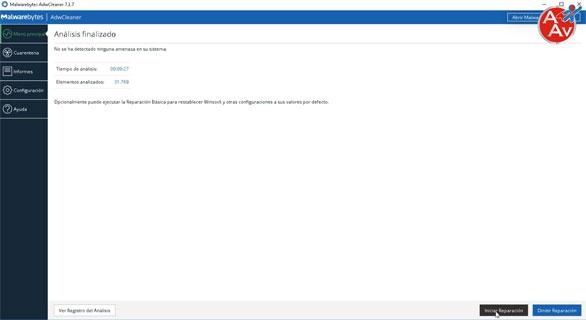 Reparación de elementos con AdwCleaner.
