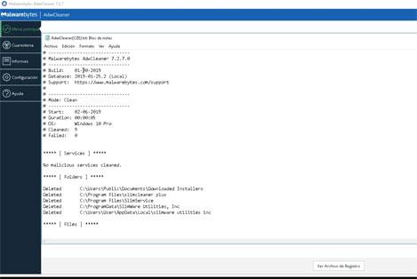 Archivo de Registro en Malwarebytes AdwCleaner.