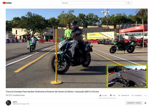 ZoD realizando el circuito práctico para el examen A2 de moto.