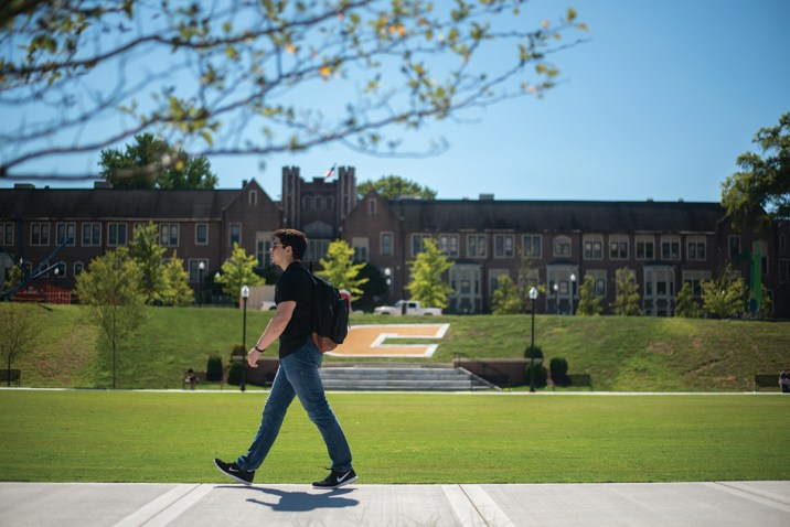 A student walks across the newly renovated Chamberlain Quad at UT Chattanooga.