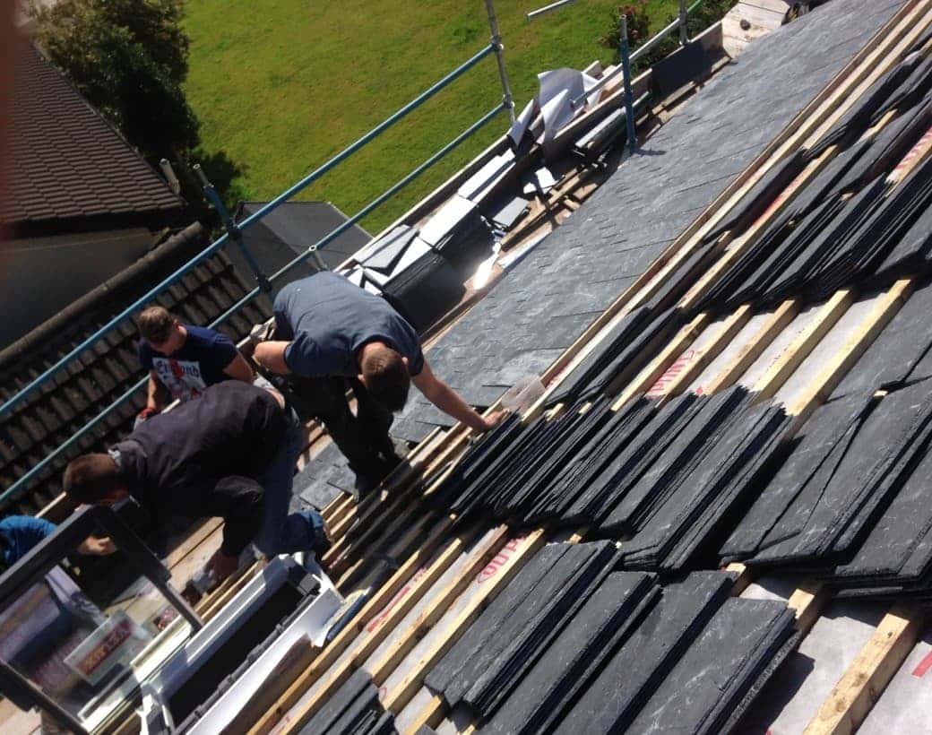 Scaffolded Tilers in action in Limerick and Cork