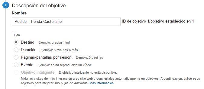 Creación de Embudos de Conversión en Google Analytics - Descripción del Objetivo