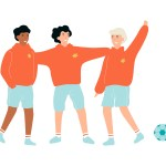 School children standing in sports uniform