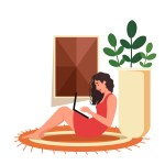 Freelancer working at home. Female character sitting on the floor and holding a laptop. Character chatting on notebook. Concept of freelance lifestyle.