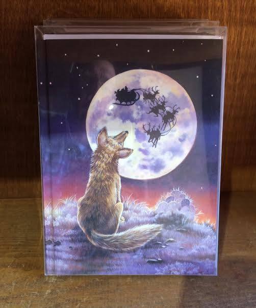 Fox Looking At The Moon Christmas Card From Santa Fe