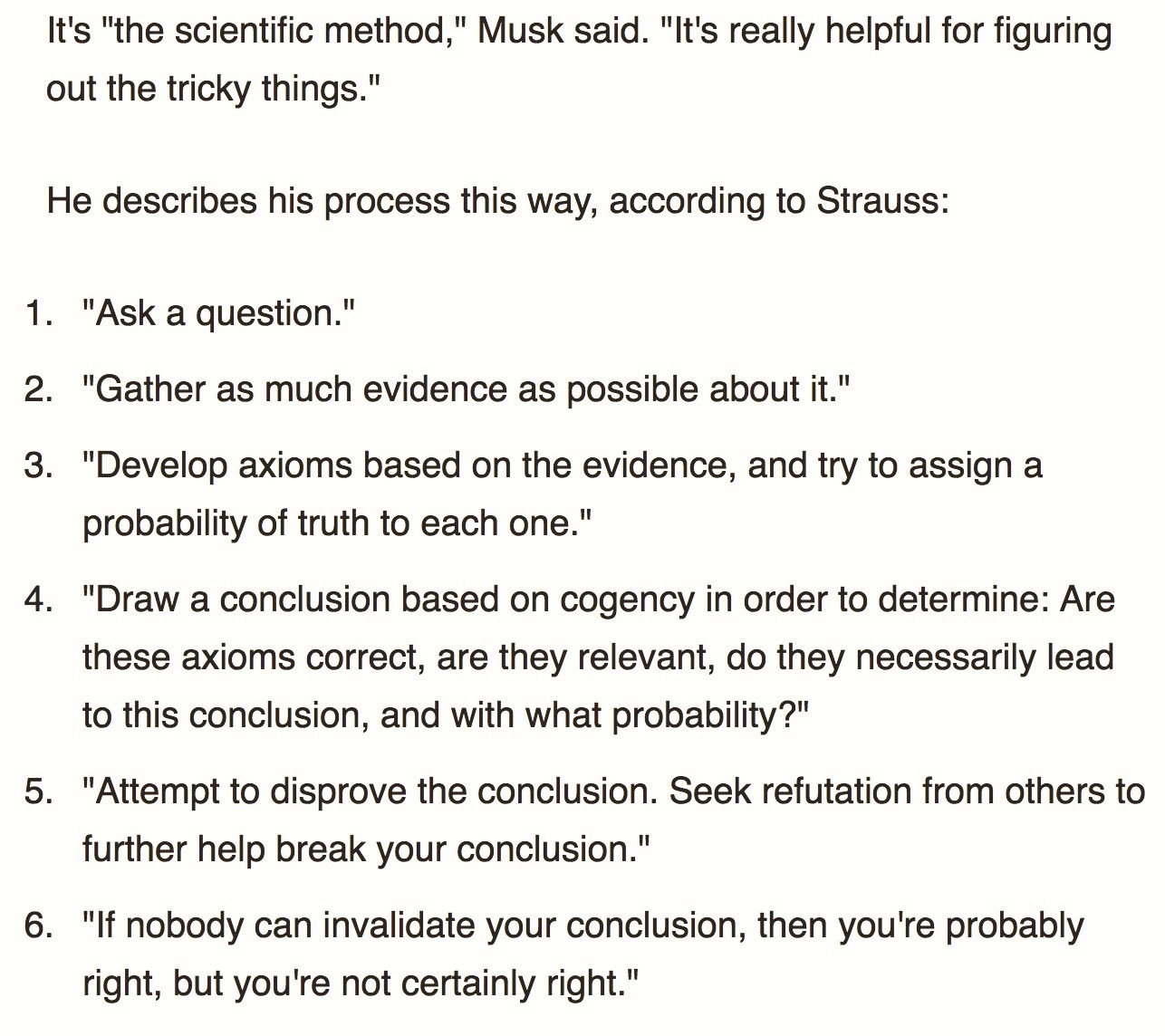 Elon Musk S Six Questions The Scientific Method
