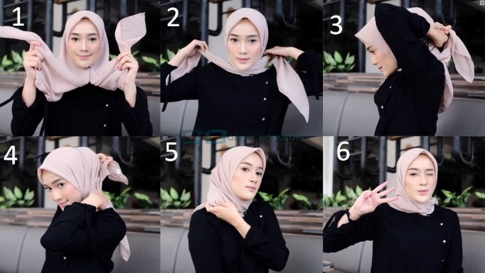 Tutorial Hijab Segi Empat Paris Simple dan Modis