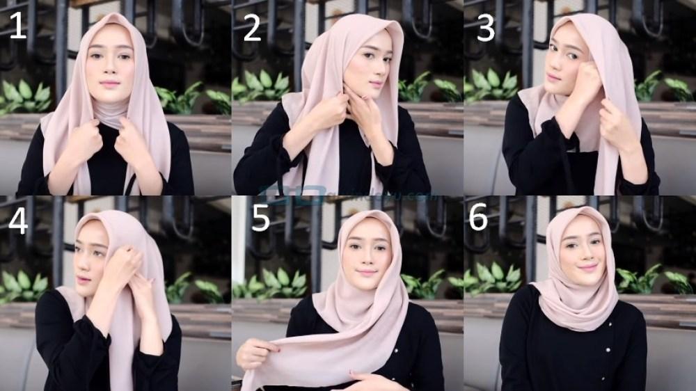 Tutorial Hijab Segi Empat Pesta Simple dan Modis