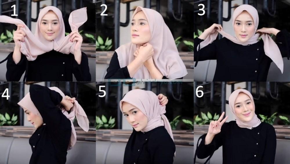 Tutorial Hijab Segi Empat Simple dan Modis Sederhana