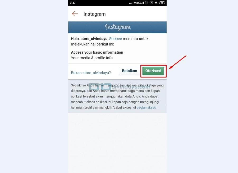 Otorisasi Login Instagram di Shopee