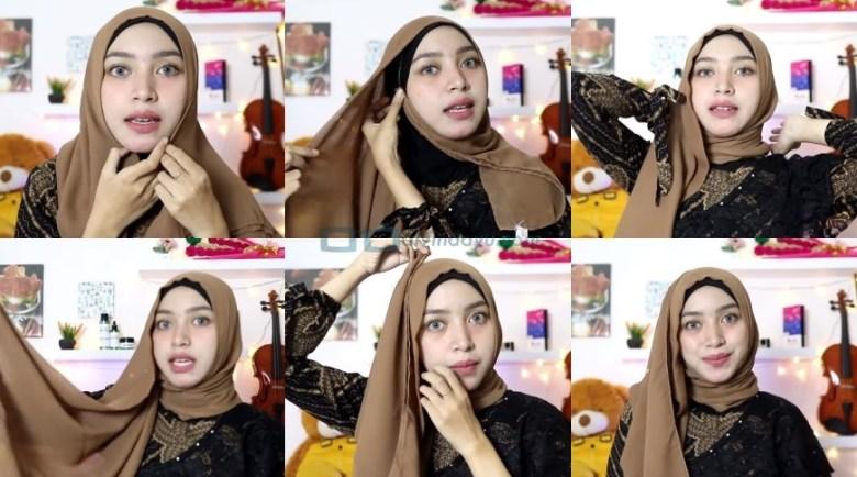 Tutorial Hijab Segi Empat Simple dan Modis Untuk Pesta