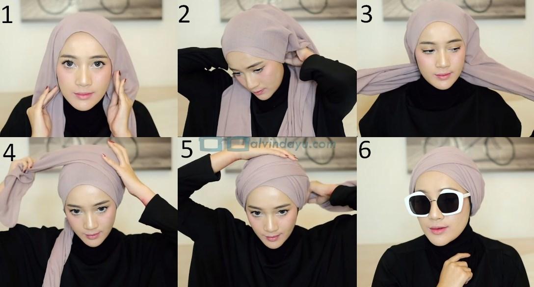 Tutorial Hijab Pashmina Diamond Turban