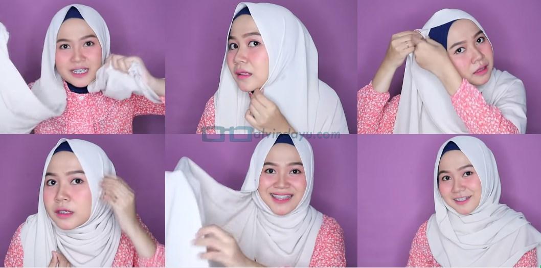 Tutorial Hijab Pashmina Wajah Bulat untuk Syari Menutup Dada