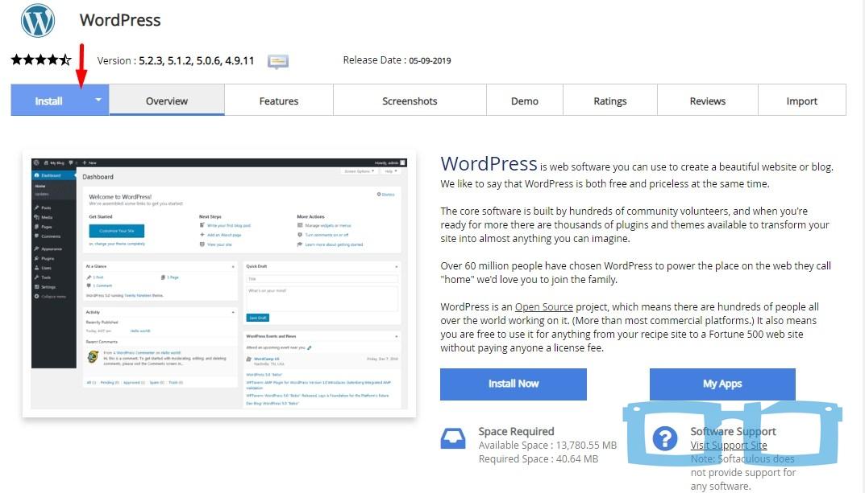 Pilih Install WordPress