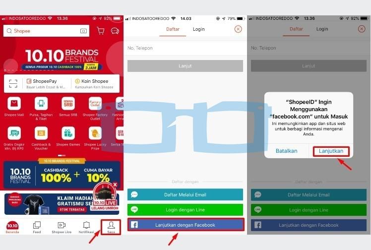 Cara Buat Akun Shopee dengan Aplikasi Melalui Akun Facebook