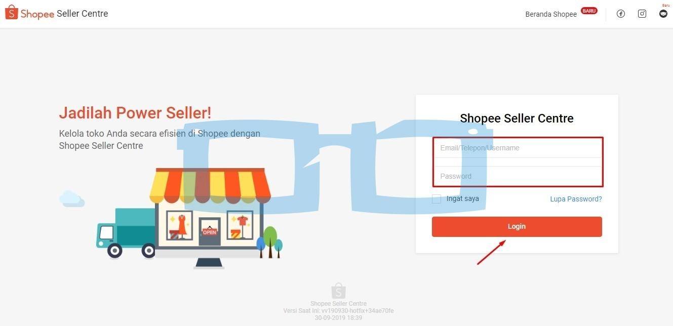 Login Shopee Seller Center