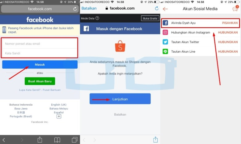 Tautan Facebook ke Akun Shopee Selesai
