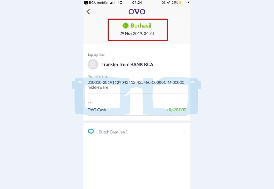 Cara Top Up OVO Melalui Mbanking BCA Selesai