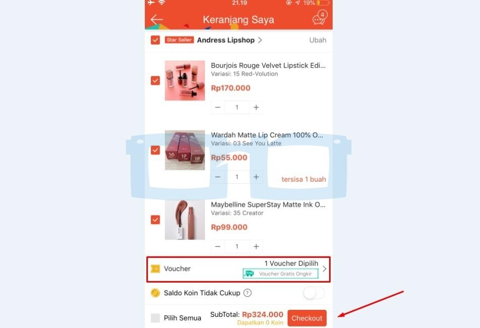 Checkout Belanja Shopee Gratis Ongkir