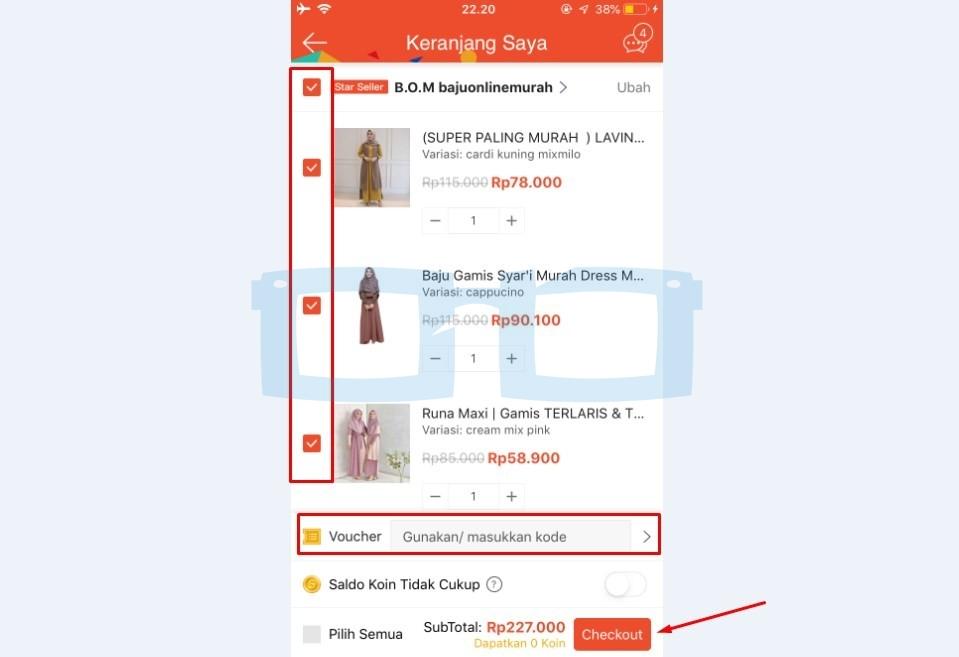Checkout Produk Belanja di Shopee