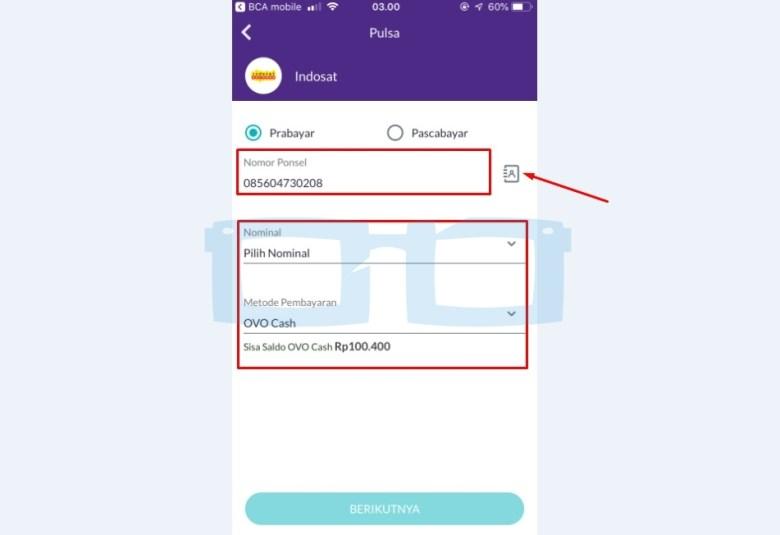 Isi Nomor Ponsel Nominal Pulsa untuk Beli Pulsa Pakai OVO Cash
