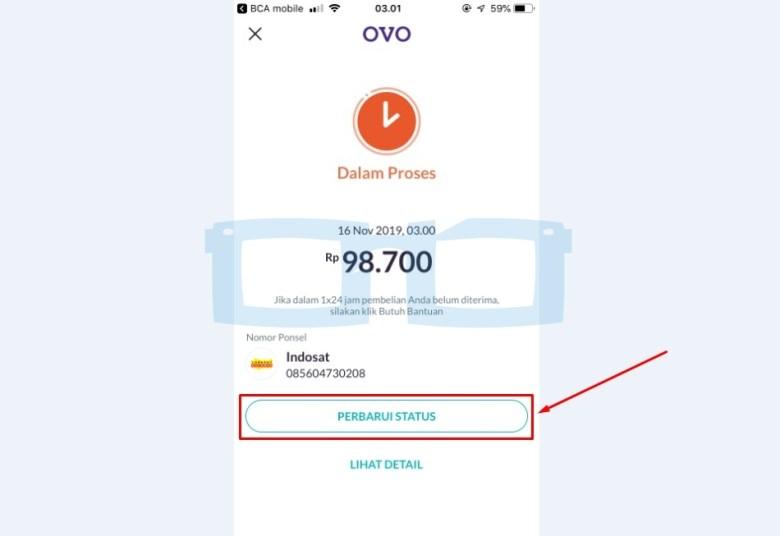 Isi Pulsa di OVO Pakai OVO Cash Dalam Proses