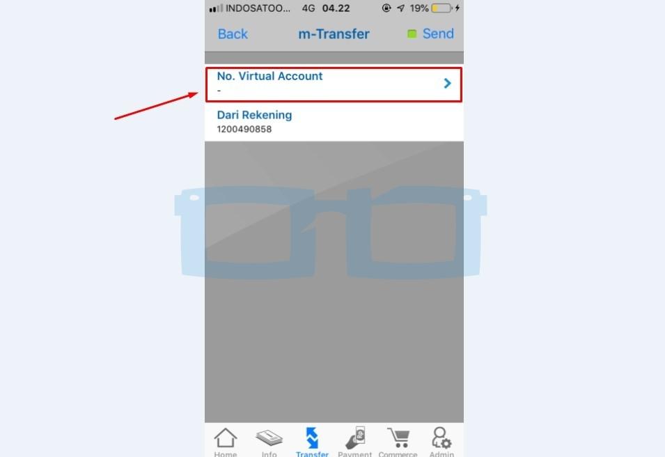 No Virtual Account Top Up OVO Melalui mBanking BCA