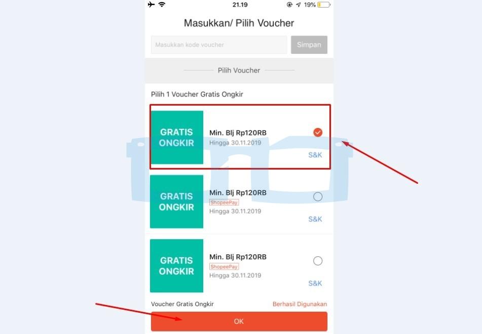 Pilih Voucher Gratis Ongkir Shopee
