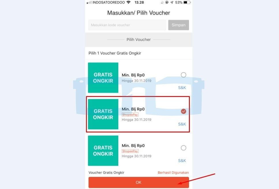 Pilih Voucher Gratis Ongkir Shopeepay