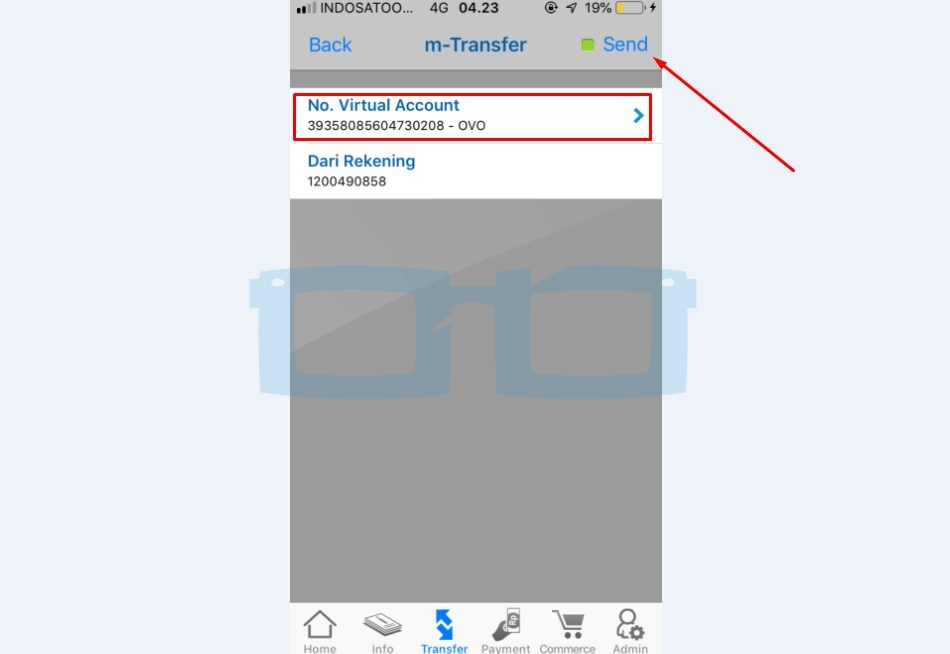 Send No Virtual Account OVO melalui mBanking BCA