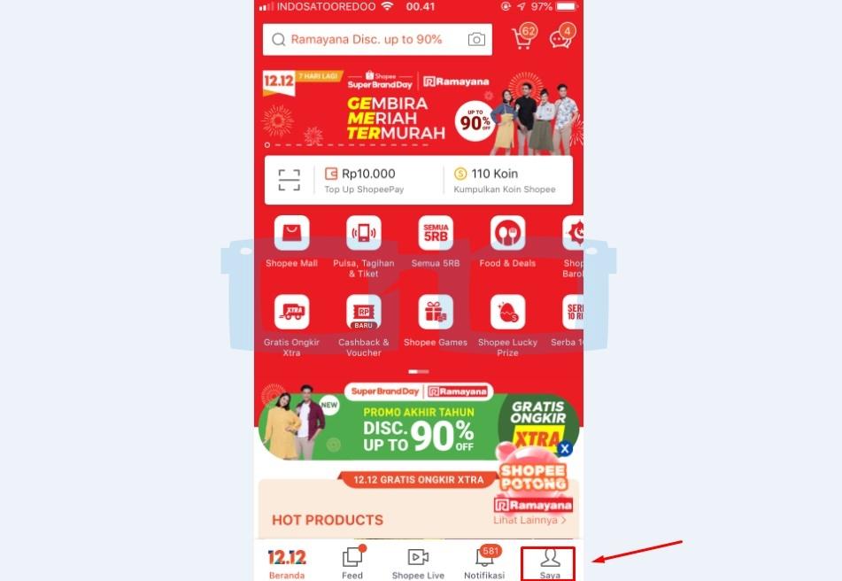 Buka Aplikasi Shopee untuk Hubungi CS Shopee Lewat Telepon