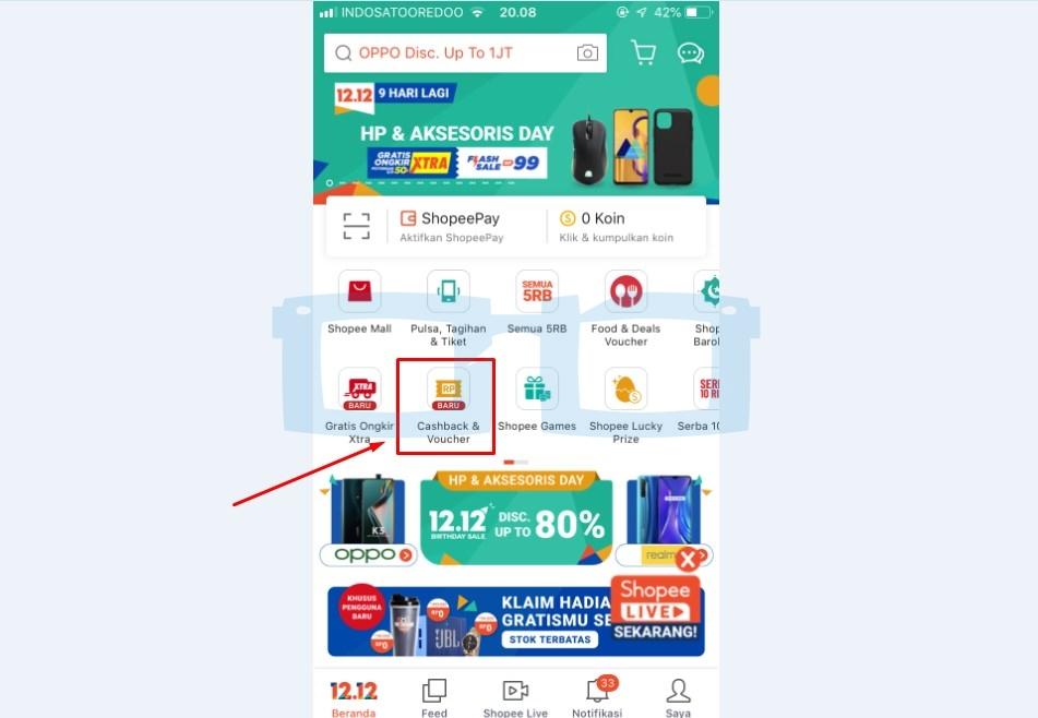 Pilih Menu Klaim Cashback Voucher untuk Klaim Voucher Pulsa Tagihan Tiket